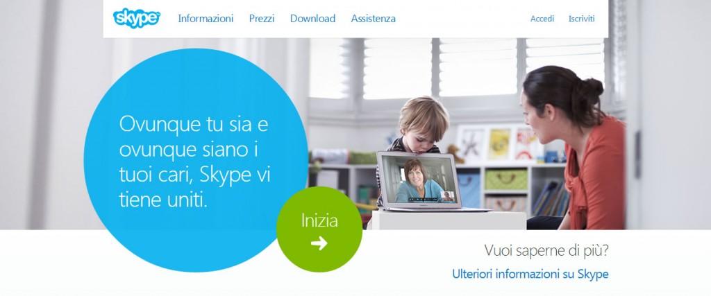 Skype home page italiana feb 2014